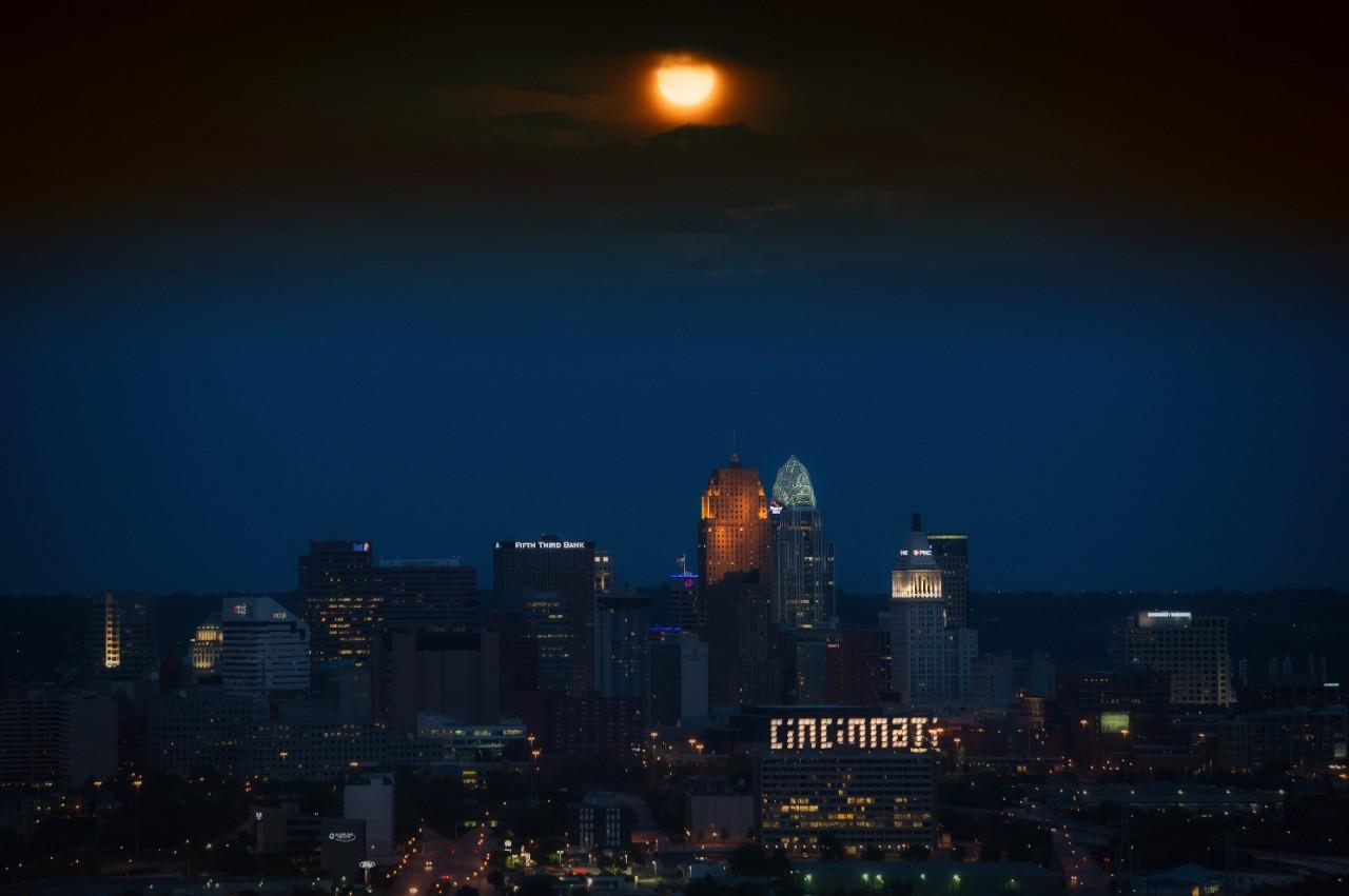 Cincinnati skyline at sunset