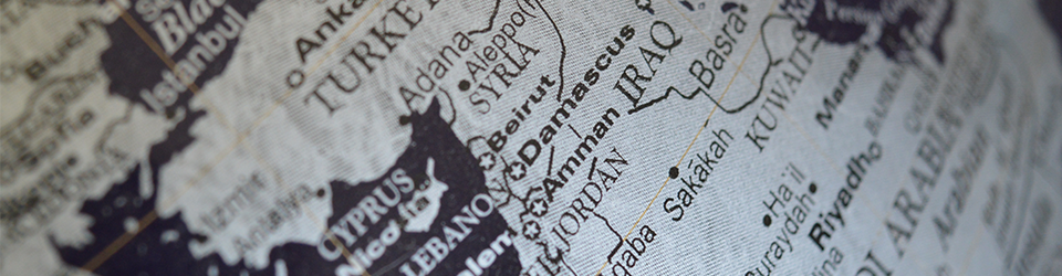 Close up photo of a map showing parts of the middle east