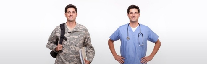 Photo of a person, one as a veteran and then as a doctor