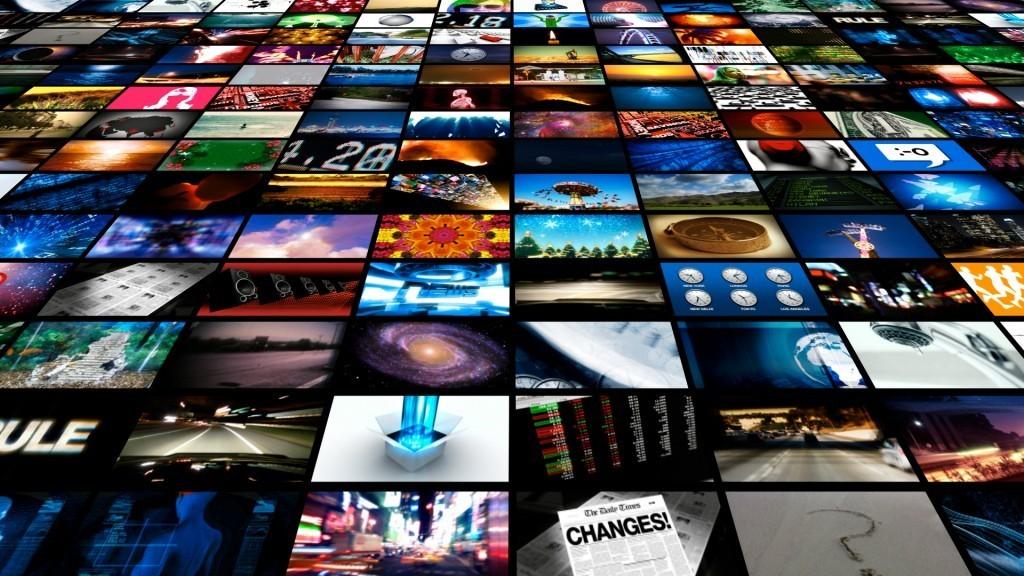 Compilation of stills from different media screens