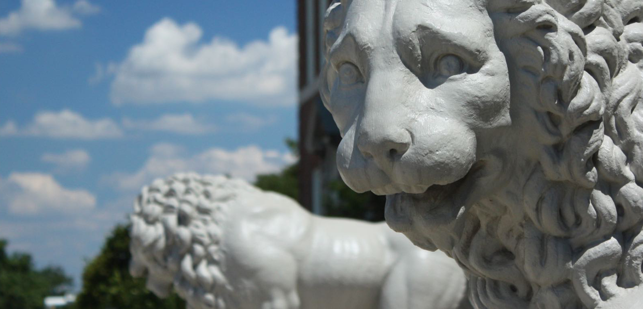 Mick and Mack, the lions in front of mcmicken hall