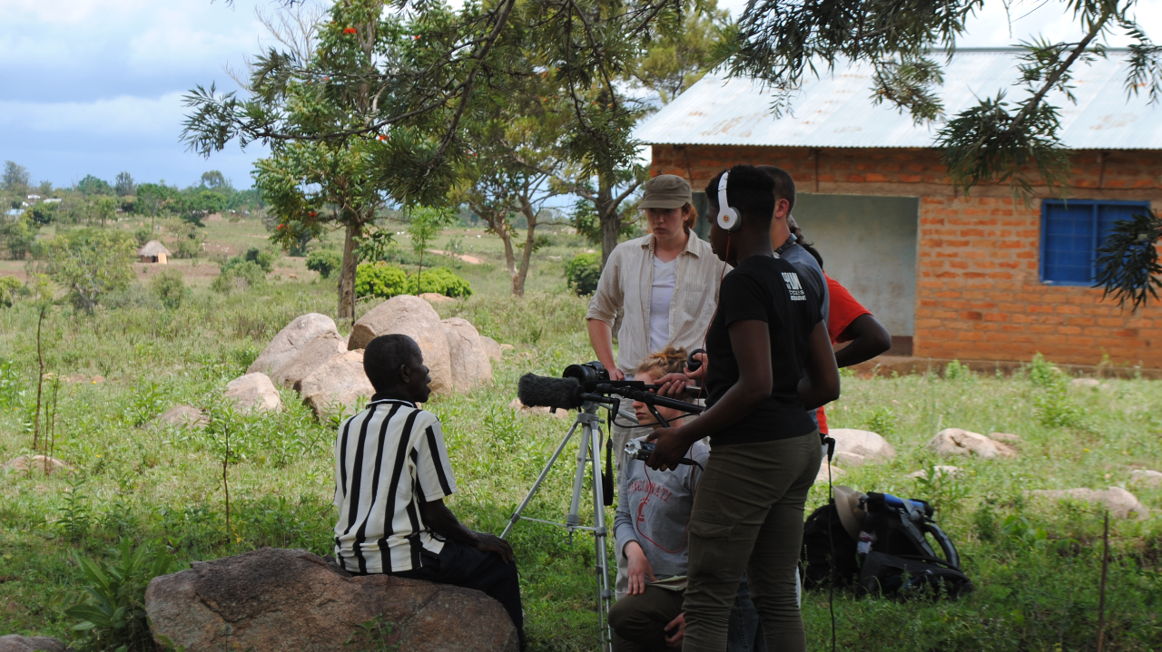 UC Journalism students on site in Tanzania
